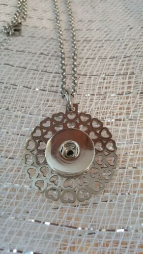 Fits Ginger Snaps SNAP PENDANT Heart  Necklace Interchangeable Button 18mm USA