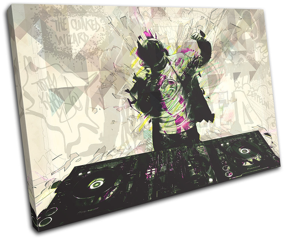 Music Abstract Grafitti DJ Club pared SINGLE LONA pared Club arte Foto impresion 31582e