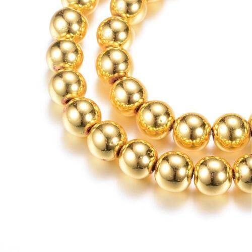 3mm rek Hämatit Perlen 150St Fädelloch 1mm  #9698 gold plated