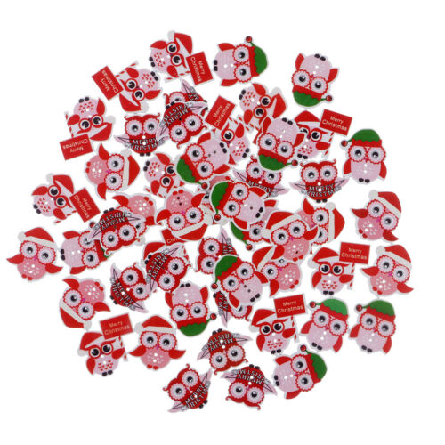 50x Owl Shape Wooden Buttons for Sewing Crafts Clothing Christmas Decoration