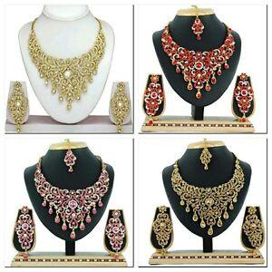 Engagement & Wedding Indian Ethnic Bollywood Gp Multicolor Bridal Fashion Necklace Earrings Tika Set