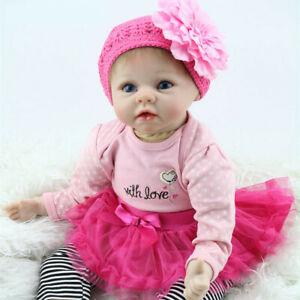 "22"" Soft Body Lifelike Girl Doll Newborn Silicone Handmade Reborn Babies Dolls"
