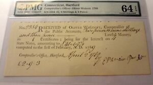 1789-OLIVER-WOLCOTT-HARTFORD-COMPTROLLER-OFFICE-PMG-64-EXCEPTIONAL-PAPER-QUALITY