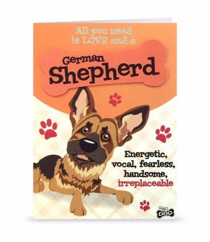 German Shepherd Love Cute Blank Greeting Card Birthday 3D Bone Dog Lovers