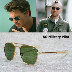 Image is loading MILITARY-Pilot-Sunglasses-Fashion-Army-AO-54mm-Brand- e5531495193b