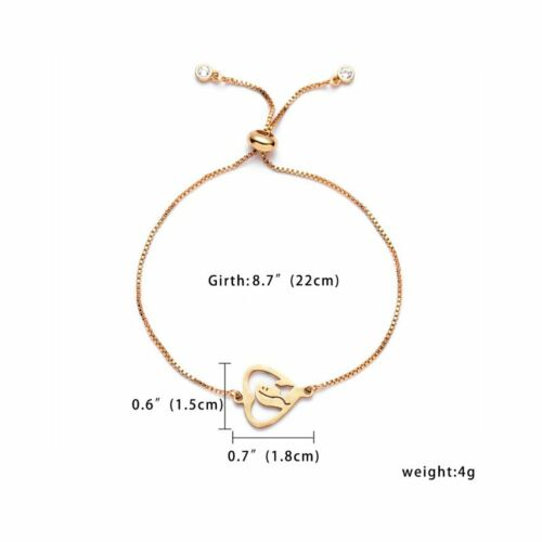 Fashion Gold Stainless Steel Bracelet Hollow Love Heart Mother/'s Day Best Gifts