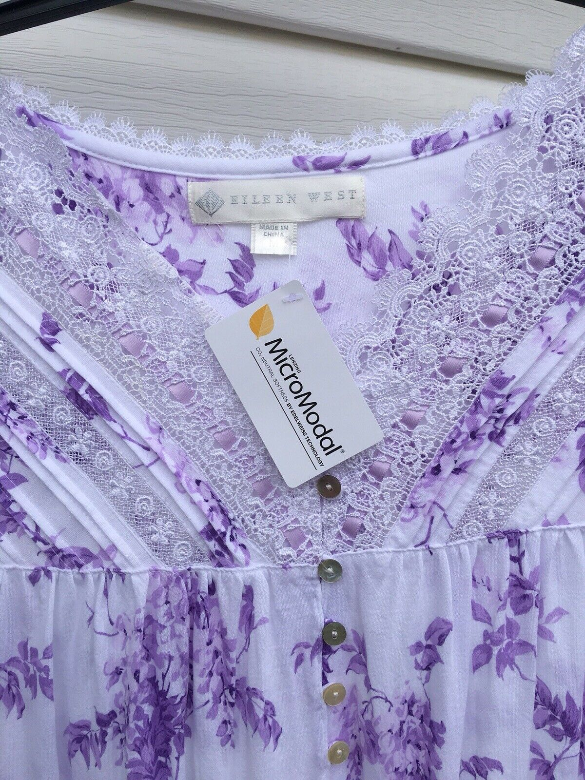 NEW Eileen West Purple Floral Modal Cotton  Cap Sleeve Gown Small S