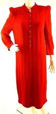 St. John Santana Knit Dress SMALL MEDIUM Red  Mid Calf Long Sleeve Front Buttons