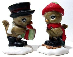 SUPER CUTE - VTG 1970s Hallmark Christmas Set of (2) Sparrow Bird Figurines