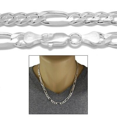 7MM 180 Gauge Solid 925 Sterling Silver Italian FIGARO Chain Necklace Italy