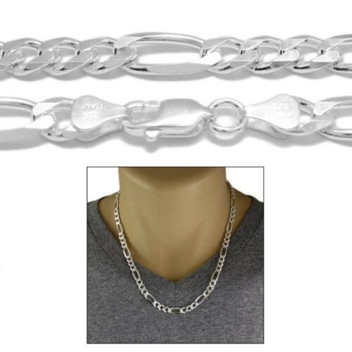 925 Sterling Silver Solid Figaro Link Chain Necklace 7mm 180 Gauge