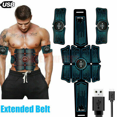 Abdominal Toning Trainer Workout Muscle ABS Stimulator Toner Fitness Belt USB