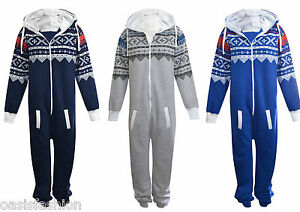 UNISEX-MENS-PLAIN-AZTEC-PRINT-ONSIE-ZIP-UP-ALL-IN-ONE-HOODED-JUMPSUIT-SIZE-S-3XL