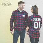 King And Queen Couple Shirts Matching Plaid Flannel Checked Crown Family Clothes
