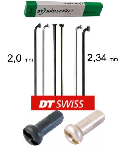 4 x DT-Swiss Champion 228 mm 2,0 2,34 mm Straight Pull J-Bend schwarz//silber