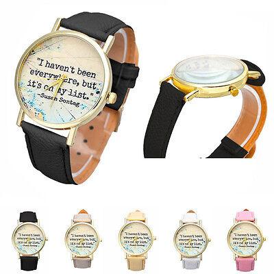 Fashion Letters Women Leather Band Analog Quartz Dial Casual Wrist Watch Men
