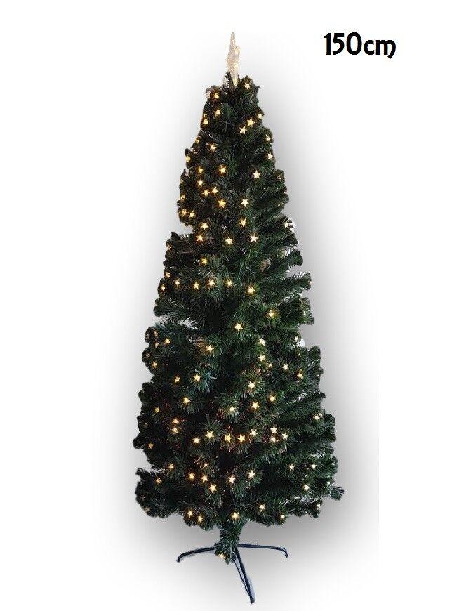 Cc Albero Di Natale Con Luci Stelle Led Gialle Abete Artificiale 150Cm Folto dfh