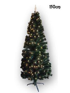 Albero-Di-Natale-Con-Luci-Stelle-Led-Gialle-Abete-Artificiale-150Cm-Folto-dfh