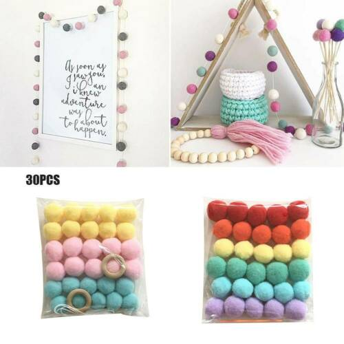 30x Wool Felt Ball Garland Pom Pom Hanging String Handmade Craft Nursery Decor