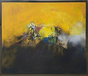 Original Abstract Fine Art Modern Painting Framed canvas Contemporary Signed