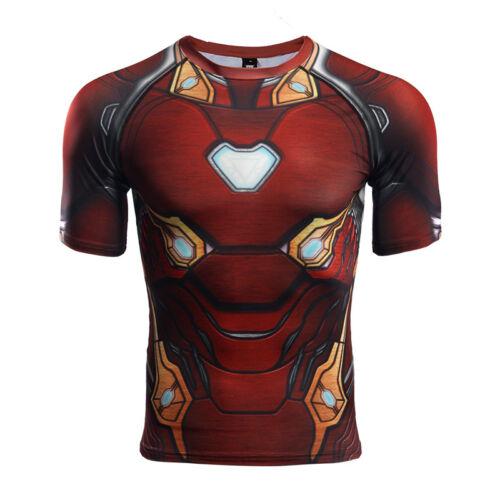 Raglan Sleeve Compression Shirts Avengers 3 Iron Man 3D Printed T shirt Men 2018
