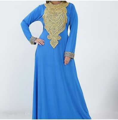 Blue Moroccan kaftan Maxi Dress with white embroidery