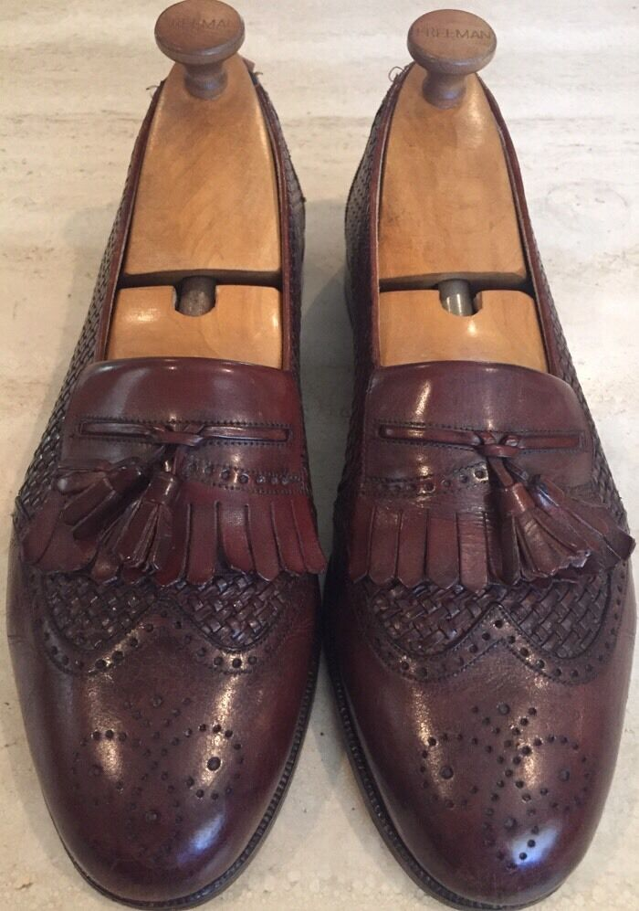 Mezlan Mens Cozumel Woven Brown Dress Loafers Sz 10 MINT