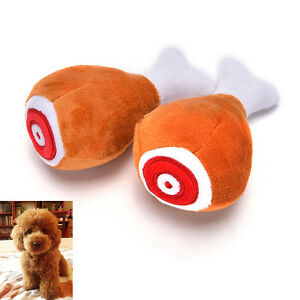 Drumstick-Chew-Play-Toy-Pet-Dog-Cat-Squeaker-Squeaky-Plush-Sound-Chicken-Leg-SK