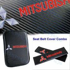 Carbon Fiber Car Center Armrest Cushion Mat Pad Seat Belt Cover For Mitsubishi Fits 1999 Mitsubishi Mirage