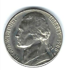 free shipping 1968 S Uncirculated Jefferson Nickel in Mint Cello
