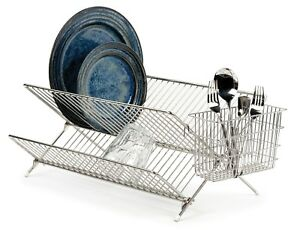 Foldable-Chrome-Kitchen-Sink-Dish-Drainer-Plate-Cups-Dry-Rack-With-Cutlery-Caddy