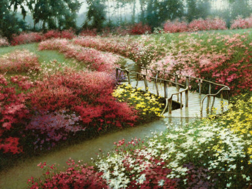 Monet's Flower Garden by Zhen-Huan Lu Art Print Floral Landscape Poster 18x24