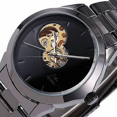Fashion Men's Skeleton Stainless Steel Automatic Mechanical Sport Wrist Watch