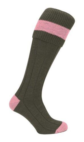 Pennine Byron Shooting Socks Olive//Pink Kids Childs Children's UK 12-2.5 /& 3-5