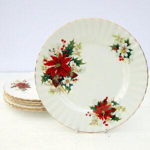 Vintage-Royal-Albert-Christmas-Poinsettia-Bone-China-Set-6-Salad-Plates