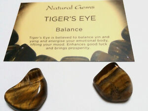 2 Golden Tigers  eye gemstones 10-20mm  with free organza bag and card