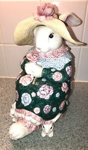 Fitz & Floyd Bloomers Cookie Jar Rabbit Bunny 1991 Fritz F&F FF Large Canister