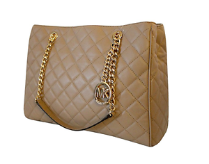 0d54555956f9 Image is loading Michael-Kors-Susannah-Large-Quilted-Leather-Tote-Handbag-