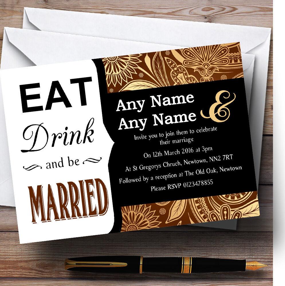 Come la Bebida Marrón oro Vintage Estampado Personalizado Invitaciones De Boda