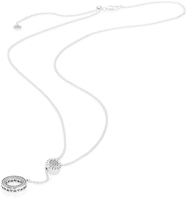 Pandora 925 Silver Gift Signature Logo Pendant Necklace 397445cz For Sale Online Ebay