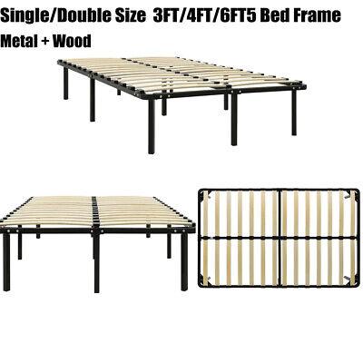 Bed Frame Black Steel 4FT 6FT Single Double Bedroom Metal Bed with Slatted Base