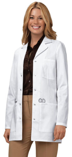 """1369 Cherokee Women/'s Workwear 32/"""" Long Sleeve Snap Front Chest Pocket Lab Coat"""