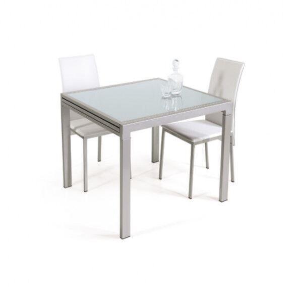 Tavolo moderno allungabile quadrato 90x90 in metallo e vetro