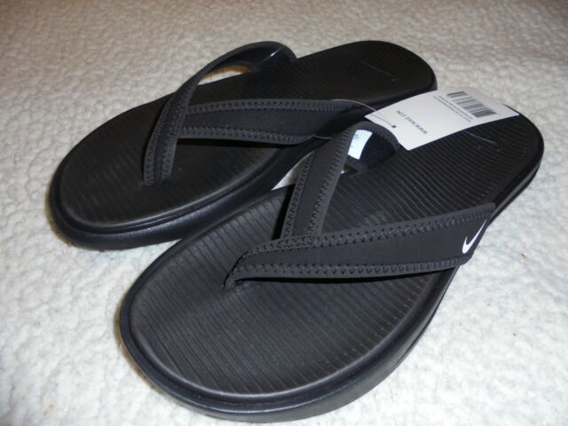 Nike Womens Ultra Celso Thong Flip Flop Size 7 Black White -8234
