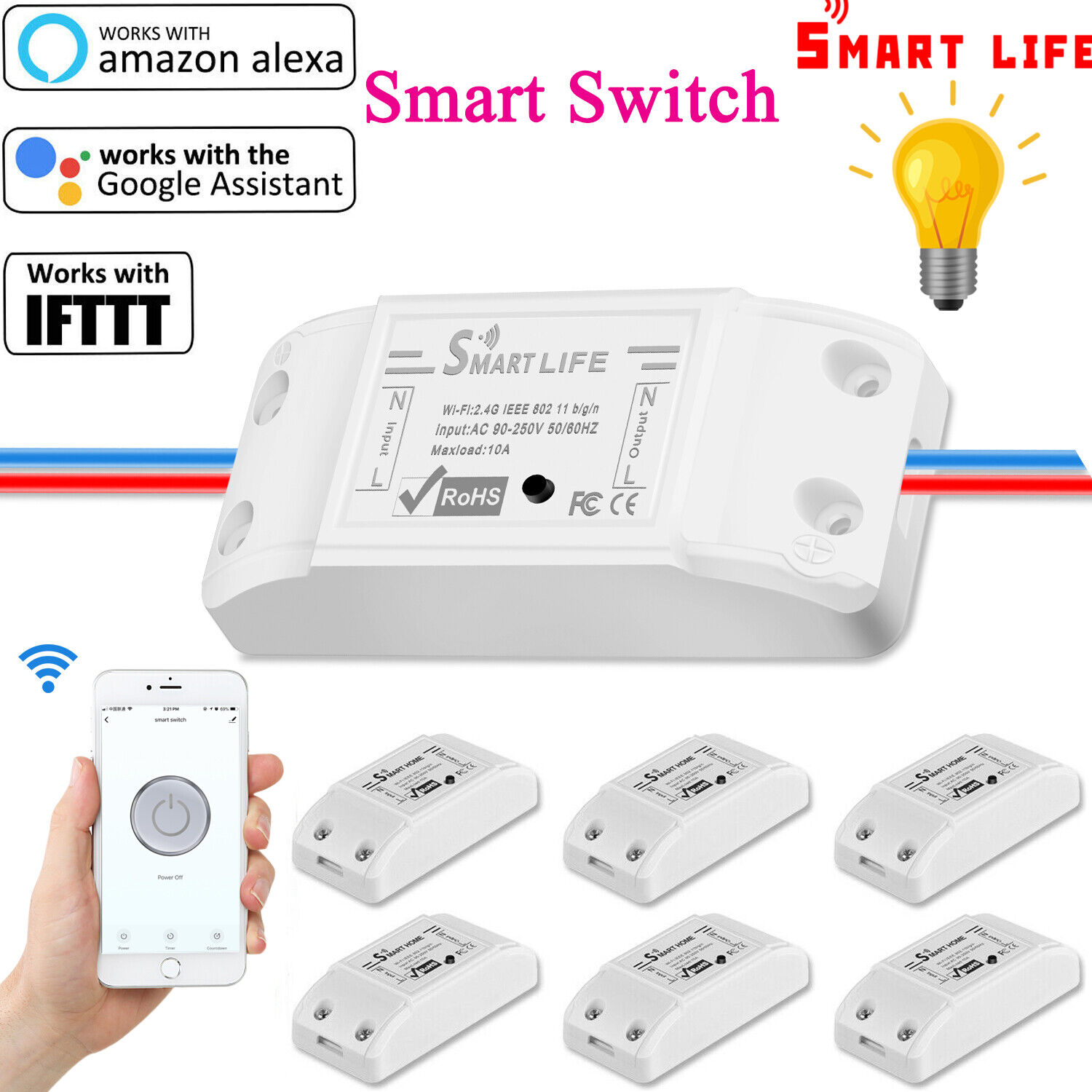 2PC 5V Sonoff WiFi Wireless Smart Switch Relay Module for Home Apple Android APP