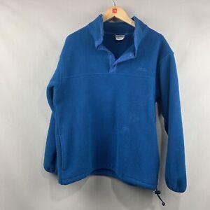 Vintage L.L. Bean Fleece Womens MED 1/4 Zip Button Snap Blue Pullover Jacket