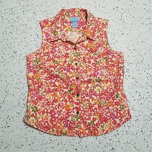 393992d999 SO Blue Sigrid Olsen Women s Button Down Shirt ~ Sz 10 ~ Floral ...