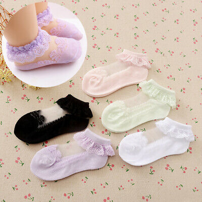 Metzuyan 6 Pairs Girls Infant Kids Frilled Ankle Cotton Socks Frilly Cotton Rich