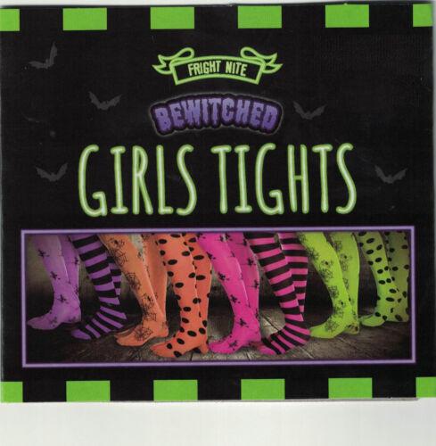 Girls Halloween Tights Kids Fancy Dress Witch Costume Spiderweb Strips Polka Dot