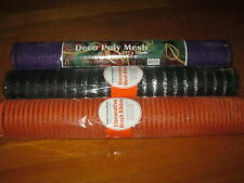 "Lot Mesh Ribbon 3 Rolls Deco Decorative Wrap Mesh 21"" x 10yd Orange Black Purple"